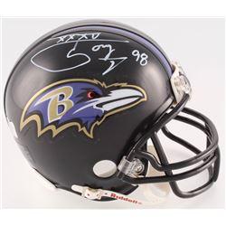 "Tony Siragusa Signed Ravens Mini Helmet Inscribed ""XXXV"" (Radtke COA)"