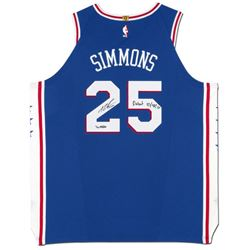 "Ben Simmons Signed LE 76ers Jersey Inscribed ""Debut 10/18/17"" (UDA COA)"