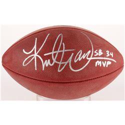 "Kurt Warner Signed Super Bowl XXXIV Authentic Football Inscribed ""SB 34 MVP"" (Radtke COA  Warner Hol"