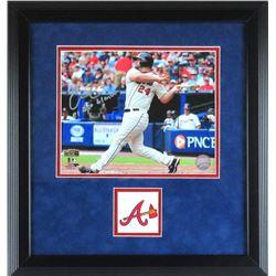"""Evan Gattis Signed Braves 15x17 Custom Framed Photo Display Inscribed """"El Oso Blanco"""" (Radtke COA)"""