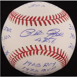Pete Rose Signed OML Baseball with (14) Career Highlight Stat Inscriptions (Radtke Hologram)