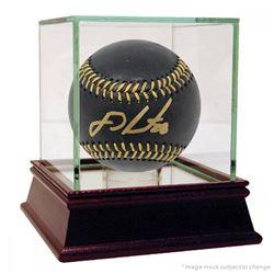 J.D. Martinez Signed Black Leather Baseball (Steiner COA)
