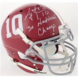 "AJ McCarron Signed Alabama Crimson Tide Full-Size Authentic On-Field Helmet Inscribed ""3x National C"
