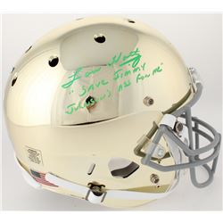 "Lou Holtz Signed Notre Dame Fighting Irish Custom Gold Chrome Full-Size Helmet Inscribed ""Save Jimmy"