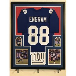 Evan Engram Signed Giants 34x42 Custom Framed Jersey Display (JSA COA)