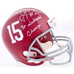 "AJ McCarron Signed Alabama Crimson Tide Full-Size Helmet Inscribed ""3x National Champ"" (Radtke COA)"