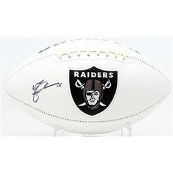 Michael Crabtree Signed Raiders Logo Football (JSA COA)