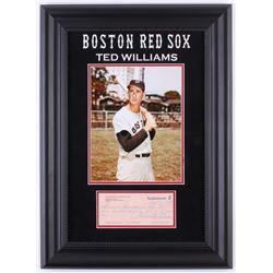 Ted Williams Signed Red Sox 16x22 Custom Framed Check Display (JSA ALOA)