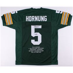 Paul Hornung Signed Packers Career Highlight Stat Jersey Inscribed  HOF '86  (JSA COA)