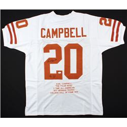"Earl Campbell Signed Texas Longhorns Career Highlight Stat Jersey Inscribed ""HT 77"" (JSA COA)"