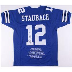 Roger Staubach Signed Dallas Cowboys Career Highlight Stat Jersey (JSA COA)
