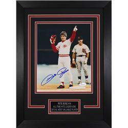 Pete Rose Signed Reds 14x18.5 Custom Framed Photo Display (JSA COA)