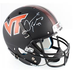 Tremaine Edmunds Signed Virginia Tech Hokies Custom Matte Black Full-Size Helmet (Radtke COA)