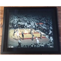 LeBron James Signed Heat 24x28 Custom Framed Photo (UDA COA)