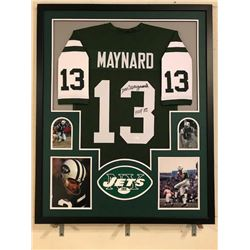 """Don Maynard Signed Jets 34x42 Custom Framed Jersey Inscribed """"HOF 87"""" (JSA COA)"""