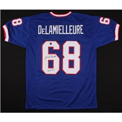 "Joe DeLamielleure Signed Bills Jersey Inscribed ""HOF 03"" (Jersey Source COA)"