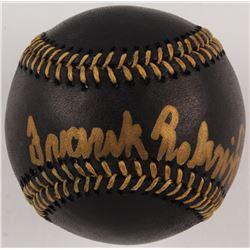 "Frank Robinson Signed OML Black Leather Baseball Inscribed ""HOF '82"" (JSA COA)"