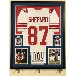 Sterling Shepard Signed Giants 34x42 Custom Framed Jersey Display (JSA COA)