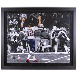 Tom Brady Signed Patriots  TD Signal  40x48 Custom Framed Limited Edition Photo (Steiner COA  TriSta