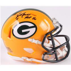 """Brett Favre Signed Packers Speed Mini-Helmet Inscribed """"HOF 16"""" (Radtke COA)"""