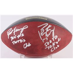 """Brett Favre  Peyton Manning Dual-Signed LE """"70K Passing Yards  500 Passing Touchdowns Club"""" Game Bal"""