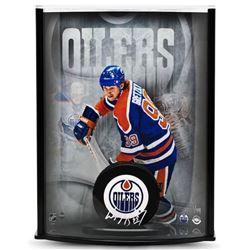 Wayne Gretzky Signed Oilers LE 8x11x3 Custom Framed Hockey Puck Curve Display (UDA COA)