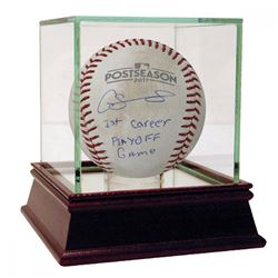 "Gary Sanchez Signed Game-Used Baseball Inscribed ""1st Career Playoff Game"" with High Quality Display"