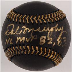 """Dale Murphy Signed Black Leather OML Baseball Inscribed """"NL MVP 82, 83"""" (Beckett COA)"""