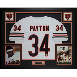Walter Payton Signed Bears 35x43 Custom Framed Jersey Display with (5) Career Highlight Stat Inscrip