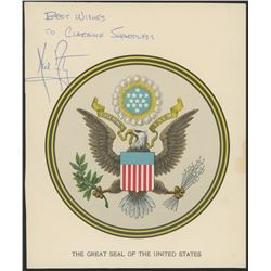 Neil Armstrong Signed 6.5x8 United States Seal Print Inscribed  Best Wished  (JSA LOA)