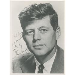 John F. Kennedy Signed 7.5x10 Photo Inscribed  With Very Best Wishes    USS Mass  (JSA LOA)