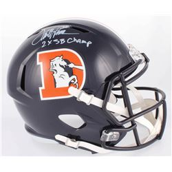 Terrell Davis Signed Broncos Full-Size Speed Color Rush Helmet Inscribed  2X SB Champ  (Radtke COA)