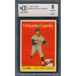 1958 Topps #343 Orlando Cepeda RC (BCCG 8)