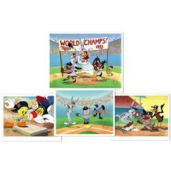 Lot of (4) LE Charles McKimson Signed Warner Bros. MLB Animation Cels (Toon Art, Inc. COA)