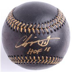 """Chipper Jones Signed Black Leather OML Baseball Inscribed """"HOF 18"""" (Beckett COA)"""