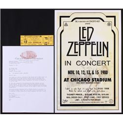 Lot of (2) Led Zeppelin Items with (1) Unused 1980 Chicago Concert Ticket  (1) 11x17 Concert Adverti