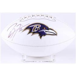 Ray Lewis Signed Ravens Logo Football (JSA COA)