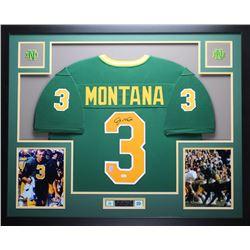 "Joe Montana Signed Notre Dame 35"" x 43"" Custom Framed Jersey (JSA COA  GTSM)"