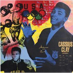 Muhammad Ali Signed 40x40 Original Steve Kaufman AP Canvas Inscribed  AKA Cassius Clay  (JSA LOA)
