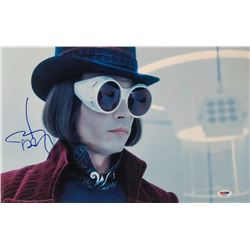 """Johnny Depp Signed """"Charlie and the Chocolate Factory"""" 11x17 Photo (PSA COA)"""