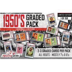 """1950's Graded Pack–Football Set Break Edition"" Mystery Box - (2) PSA Graded Cards Per Pack!"