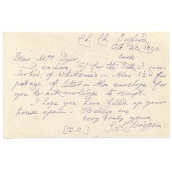 Charles Dodgson Signed Handwritten Letter (JSA LOA)