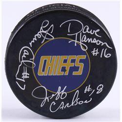 "Dave Hanson, Steve Carlson  Jeff Carlson Signed Chiefs ""Slap Shot"" Logo Hockey Puck (Schwartz COA)"