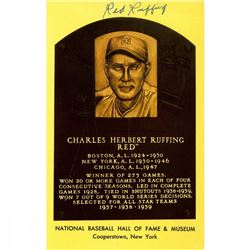 Red Ruffing Signed Gold Hall of Fame Postcard (JSA Hologram)