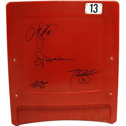 New York Giants Stadium Seatback Signed by (4) with Joe Morris, Brandon Jacobs, Ottis Anderson  Tiki