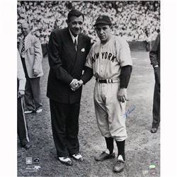 Yogi Berra Signed Yankees 20x24 Photo with Babe Ruth (Steiner COA)