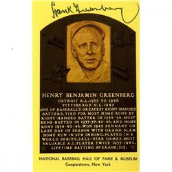 Hank Greenberg Signed Hall of Fame Plaque Postcard (JSA COA)