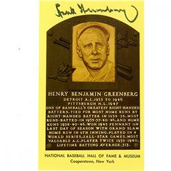 Hank Greenberg Signed Gold Hall of Fame Postcard (JSA COA)