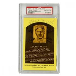 Frankie Frisch Signed Gold Hall of Fame Postcard (PSA Encapsulated)