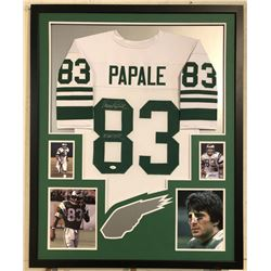 "Vince Papale Signed Eagles 34x42 Custom Framed Jersey Inscribed ""Invincible"" (JSA COA)"